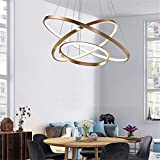BAYCHEER Gold Pendant Light Fixture Modern Chandeliers Round Shape Drop Ceiling Lighting 3 Ring LED Hanging Lamp for Kitchen Island, Bedroom, Dining Room Cool Light Size S