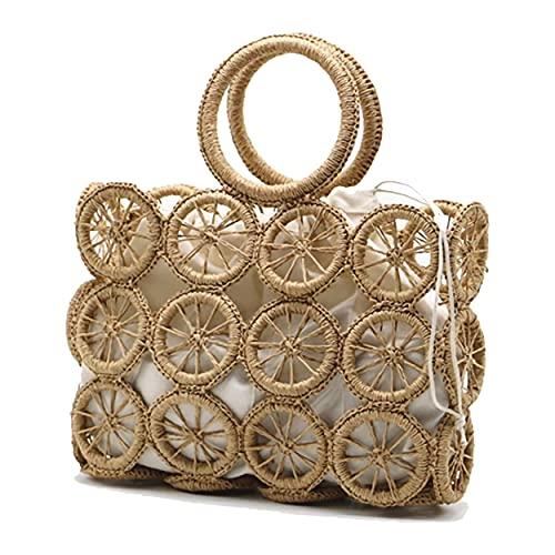 DOLYANG Retro Handwoven Rattan Tote Bag for Women Summer Beach Natural Straw Bag Round Ring Handle Handbags