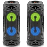 (Qty 2) Technical Pro Portable Rechargeable Bluetooth Speaker with Color Changing LED, 2 x 4 Woofer, 6 Hours Playtime, USB, SD Input & Dust Proof Enclosure