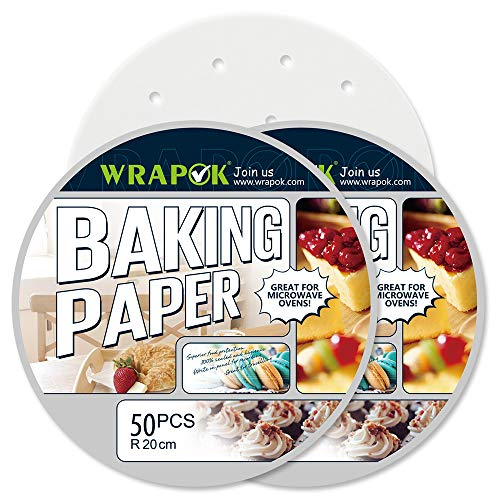 WRAPOK 100 Count Air Fryer Liner 8 inch Round Perforated Parchment Bamboo Steamer Paper Non-stick for Baking Steaming Basket Cooking Cake