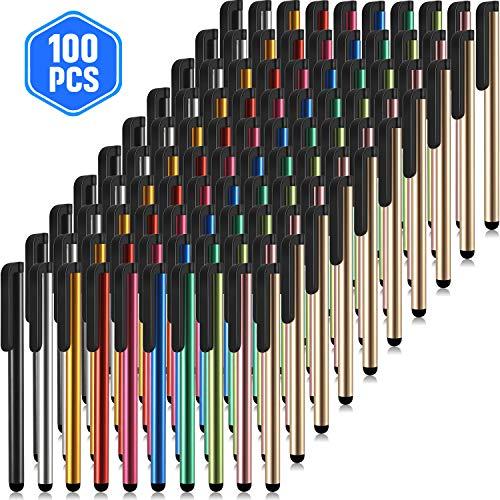 Outus 100 Bolígrafos Stylus Bolígrafos Capacitivos Delgados Stylus Bolígrafos Universales con Pantalla Táctil con Pantalla Táctil Capacitiva, Compatible con iPhone, iPad, Tableta (10 Colores)