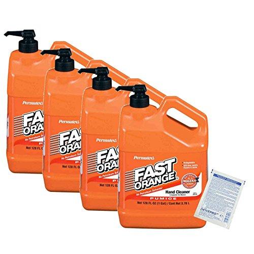 4er Set Permatex Fast Orange: Kanister 3,78 Liter mit Pumpe - die perfekte Handreinigung inkl. 4 St. DEWEPRO SingleScrubs