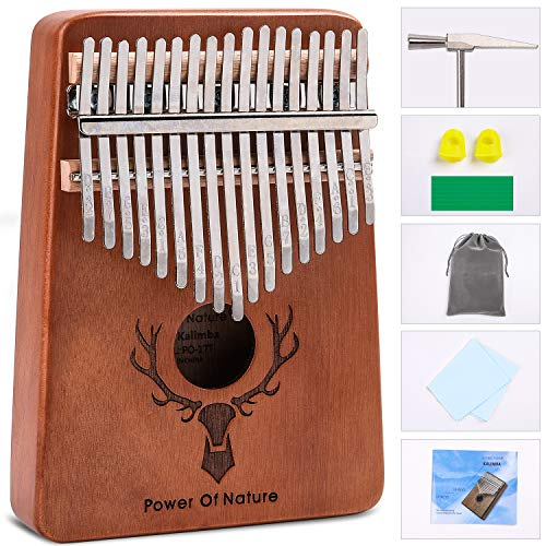 Pon Kalimba 17 Keys Thumb Piano - Portable Mbira Sanza Wood Finger Keyboard Piano for Kids Adult Beginners, with Study Instruction and Tune Hammer