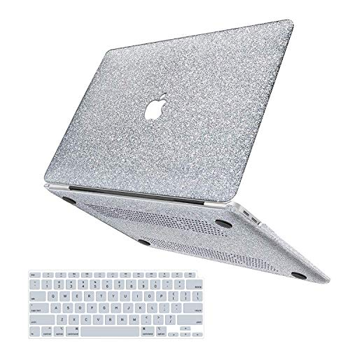 Anban MacBook Air 13 inch case 2021 2020 2019 2018 release A2337 M1 A2179 A1932, girly bling smooth PU leather protective laptop shell case with keyboard cover, Mac Air 2020 M1 case touch ID & retina