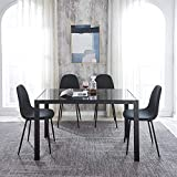 IDS Home Glass Table Top with Contemporary Fabric Upholstered Chairs with Metal Legs 5 Piece Kitchen Dining Room Dinette Set for 4, Black