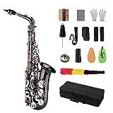 ammoon Brass Professional Bend Eb E-plat Motif Saxophone Alto Sax Noir Nickel Placage Abalone Shell Clés des gants de cas chiffon de nettoyage Sangles Grease Brush