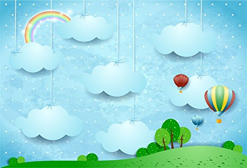 OFILA Cartoon Clouds Backdrop 7x5ft Rainbow Hot Air Balloons Baby Shower Party Background Newborn Baby Photography Girls Boys Birthday Party Decoration Children Tea Party Photos Studio Props