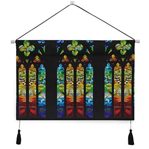 Zemivs Tapiz Tapices de Pared Diseño de vidriera gótica Tapiz Dormitorio 17.5 X 24.5 Pulgadas / 45cm X 62cm Arte de Pared para apartamento Dormitorio Telón de Fondo Decoración para el hogar