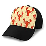 Holefg3b Clásico 100% algodón Gorras de Sombrero Gorra de béisbol de Moda Unisex Ajustable Langosta roja Plana patrón sin Costuras Cangrejo de...