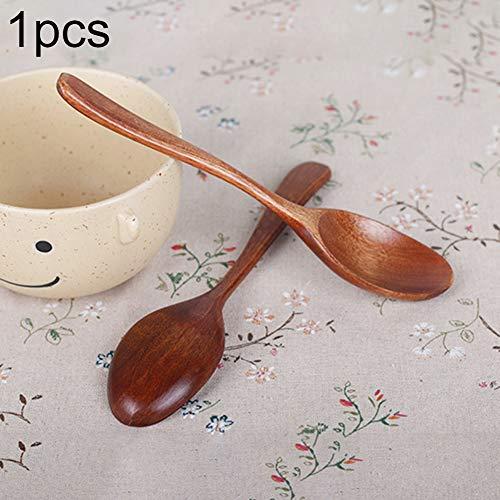 Houten Lepel Lange Handvat Japanse Stijl Kinderen IJs Dessert Home Utensil - Bruin BRON