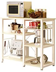 SogesGame Kitchen Cart 3-Tier Kitchen Baker's Rack Utility Microwave Oven Stand Storage Rolling Workstation with Hooks for Living Room (Retro)