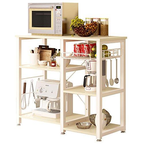 sogesfurniture Scaffale per Cucina in Acciaio Legno, 3 + 3 Ripiani Carrello da Cucina per microonde Forno Scaffalature Organizzatore Salvaspazio, Acero W5S-MO-BH