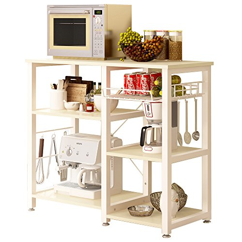 SogesHome Micorwave Shelf Unit Kitchen Oven Storage Shelf Baker's Rack Storage Cart Workstation Shelf 90 x 40 x 83 cm,W5S-MO-SH