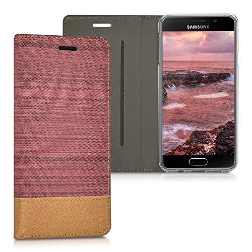 kwmobile Hülle kompatibel mit Samsung Galaxy A3 (2016) - Stoff Handy Schutzhülle - Flip Cover Case Altrosa Braun