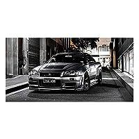 キャンバス絵画HDプリントスポーツカーアートワーク現代日産スカイラインGtr車の写真ベッドサイド家の装飾壁アートポスター50x100cm20x40inchフレームなし