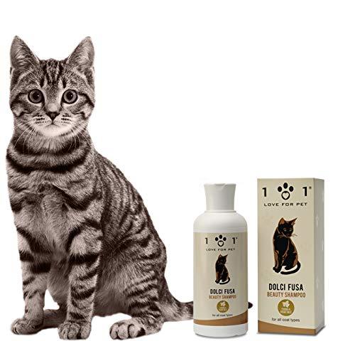 Champú natural para gatos, 250ml - Enriquecido con ingredientes de origen vegetal - Desenreda y elimina la suciedad y los nudos - Apto para todo tipo de cabello - Linea 101