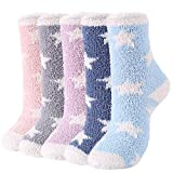 Girls Fuzzy Socks Warm Fluffy Socks for Women Cute Socks Winter Fleece Christmas Athletic Socks Outdoor Sports Socks C (5 Pairs Star)