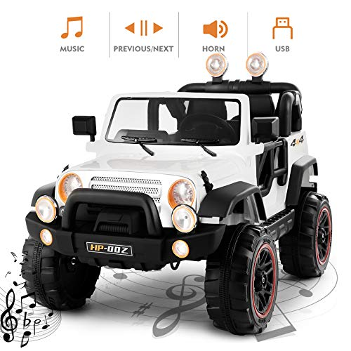 Fitnessclub Electric Cars for Kids, 12V Powered Kids Ride On Car with 2.4 GHZ Bluetooth Remote Control, LED Lights, MP3 Player, 3 Speeds (White)