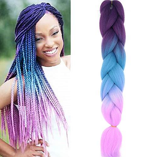 Treccine Extension Capelli Sintetici per Treccine Africane 1 Ciocche Trecce Jumbo Braiding Hair Kanekalon (Viola&Lago Blu&Viola chiaro)