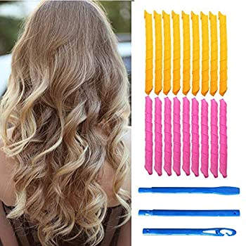 Magic Hair Curlers 21 PCS Spiral Curls Styling Kit,18 No Heat Hair Curlers and 3 Styling Hooks extra long hair up to 22   55 cm  long,for Women,Girls,Men  Spiral Curl