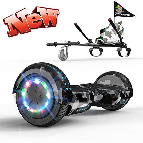 GeekMe Hoverboards mit Sitz,Hoverboards Kinder,Go Kart mit Hoverboards 6,5 Zoll, Elektroroller mit LED Lichter und Bluetooth Lautsprecher,Geschenk Kinder