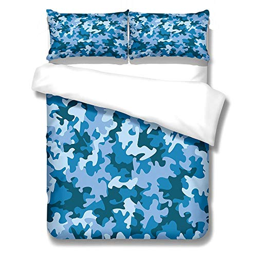 King Size Duvet Cover Sets Soft Comfortable Lightweight Breathable Bedding Set Navy Color for Kids Boys Girl Microfibre Three Piece 2 Pillowcases with Zipper Closure(230X220cm)