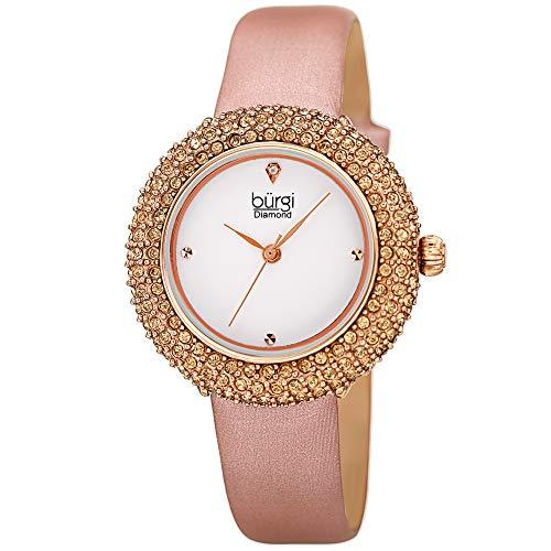 Burgi Swarovski Colored Crystal Watch - A Genuine Diamond Marker on a Slim Leather Strap Elegant...