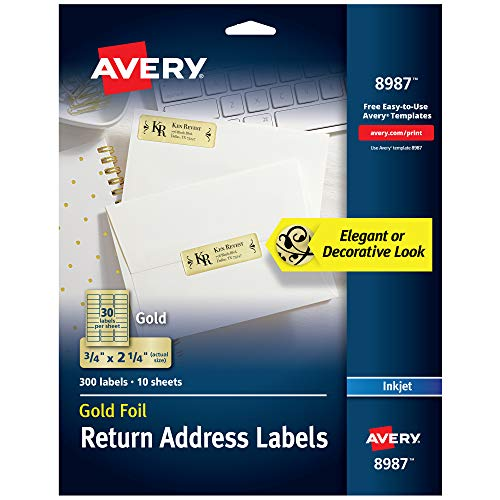 Avery Gold Address Labels for Inkjet Printers, 3/4 x 2-1/4, 300 Labels (8987)