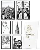 Heimlich Cuadros Decorativos - SIN Marcos -Decoración Colgante para Paredes de Sala, Dormitorios y Cocina - Arte Mural - 2 x A3 & 4 x A4-30x42 & 21x30   » Nueva York Manhattan «