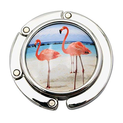 Reizteko Purse Hook, Ceramics Flamingo Bird Foldable Handbag Purse Hanger Hook Holder for Tables (# 2)
