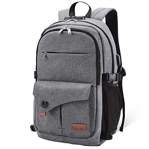 Lekesky Anti-Theft 15.6 Inch Laptop Backpack Business Travel Rucksack with USB Charging Port for Secondary/College/Women/Men- Grey