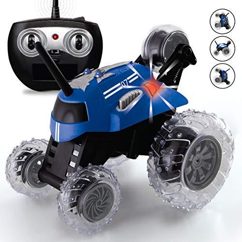 SHARPER IMAGE Thunder Tumbler Spinning Stunt Mini Truck RC Car with 5th Wheel, Blue