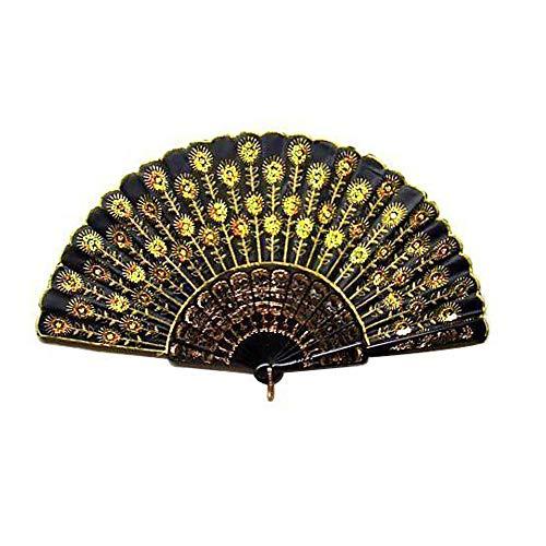 Fliyeong - Abanico Plegable de Mano con Lentejuelas, diseño de Pavo Real