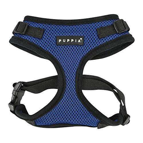 Puppia Authentic RiteFit Harness with Adjustable Neck, Medium, Royal Blue