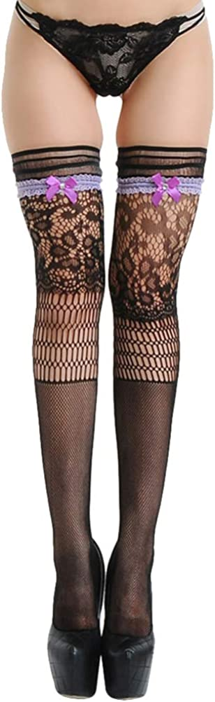KESYOO Women High Waist Fishnet Tight Stocking Stretchy Bow Lace Thigh High Stocking Pantyhose without Briefs Black