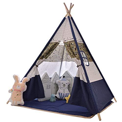 ANQIY Tienda de campaña para juegos artísticos, esquina de lectura, sala de juguetes, princesa, sueño, castillo, estrella, gran espacio, portátil, plegable, para niños (color azul, tamaño: #2)