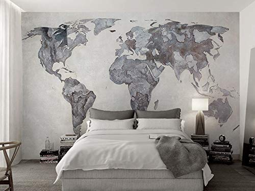 Amazon Com Murwall Map Wallpaper Monochrome World Map Wall Mural Retro Home Decor Vintage Cafe Design Young Room Architectural Office Decor Handmade