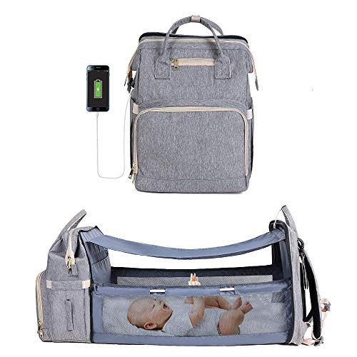 Diper Baby Backbag, Baby Bags with Diaper Changing Station Multi-Functional Travel Foldable Baby Bed with USB Charging Port Insulated Pocket, Baby Diaper Backpack Gifts for Boys Girls (Gray)