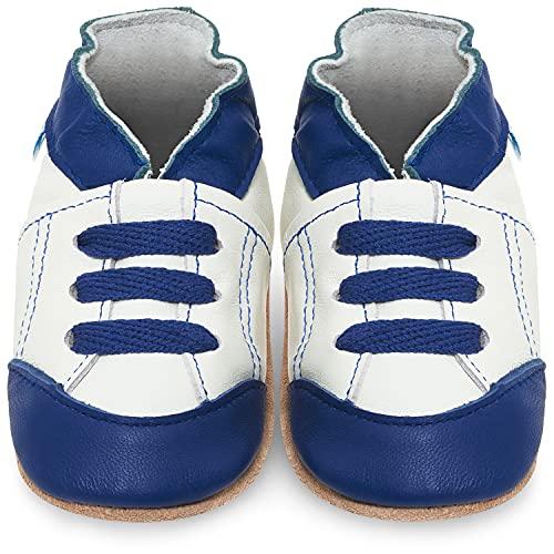 Zapatillas Bebe Niño - Zapato Bebe Niño - Zapatos Bebes - Calzados Bebe Niño - Deportivas Blanco y Azul - 6-12 Meses