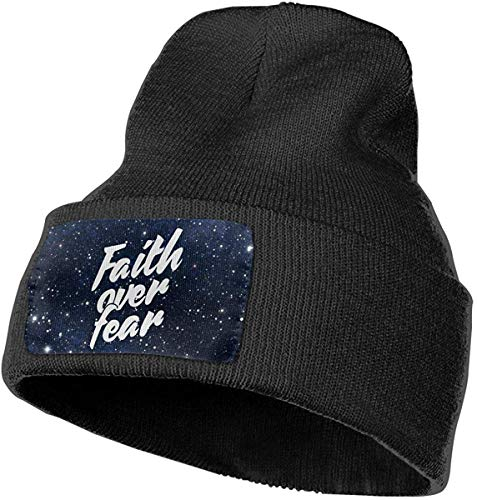 Voxpkrs Faith Over Fear 1 Women and Men Skull Caps Winter Warm Stretchy Knit Beanie Hats