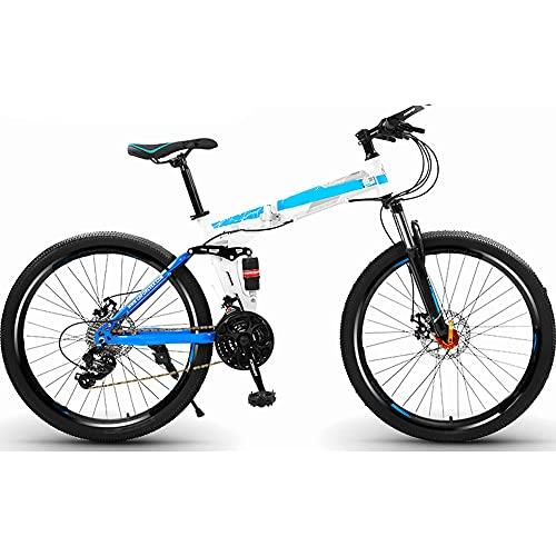 MENG Folding Bike for Adults, Mountain Bikes 24 26 Inches Three Knife Wheel Mountain Bicycle Dual Disc Brake Bicycle,B,26Inch