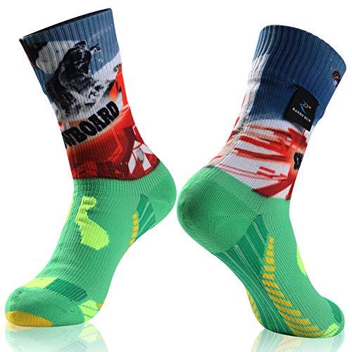 100% Waterproof Socks, RANDY SUN Unisex Waterproof Breathable Cycling Running Trekking Socks Large