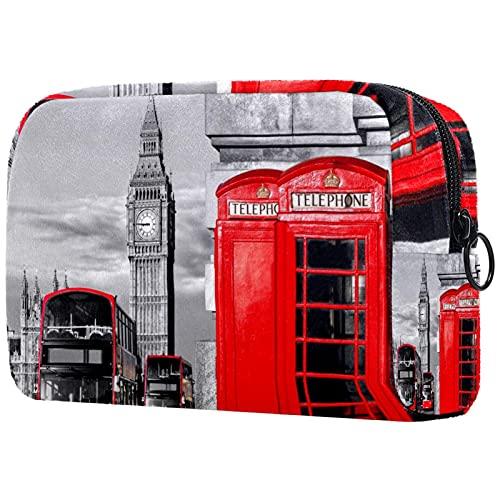 Bolsa de cosméticos para Mujeres Teléfono de autobús Rojo de Londres Bolsas...