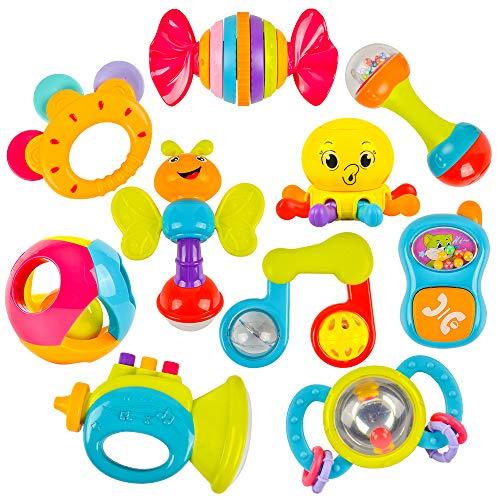 がらがら ラトル 10 PCSセット 歯固めラトル ハンドラトル ガラガラのオモチャ はがためセット 初めてのオモチャ 人気 歯がためおもちゃ がらがらおもちゃ 知育 おしゃぶり&ラトル ベビー 3ヶ月 6ヶ月 10ヶ月 0歳 1歳 2歳 赤ちゃん 新生児 幼児 男の子 女の子 出産お祝い 誕生日 プレゼント - TopDuterpick