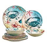 Gourmet Art 12-Piece Sealife Crab Heavyweight and Durable Melamine Dinnerware Set, Service for 4. Includes Dinner Plates, Salad Plates and Bowls. for Indoors Outdoors Use and Everyday Use