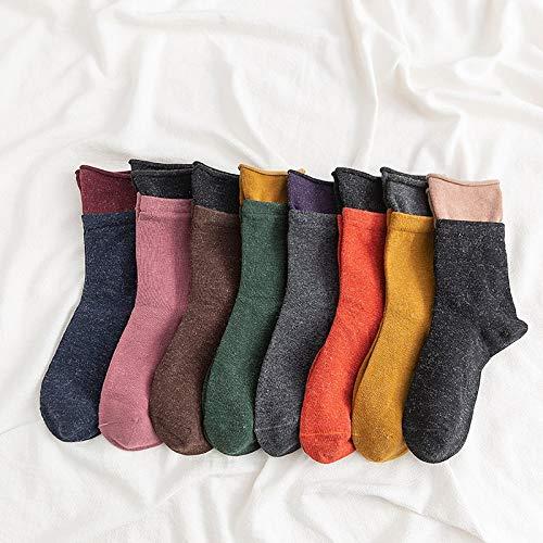 Transpirabilidad cálida y cómoda para Mujeres. Otoño e Invierno de Lana Manguito Doble Costura Montones de Calcetines (Color : A)