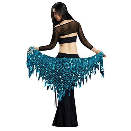 YuanDian Mujer Triángulo Danza Del Vientre Cinturon Cadera Pañuelo Bufanda Brillantes Lentejuelas Sirena Profesional Tribal Árabe Oriental Danza Cintura Cadena Faldas Ropa Lago Azul