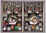 THOWALL Autocollants Noël pour Fenêtres, 2PCS Stickers Statique Muraux Amovibles & Réutilisable, Décoration DIY avec Père-Noël & Bonhomme de Neige & Renne & Flocon de Neige pour Noël Hiver (A)
