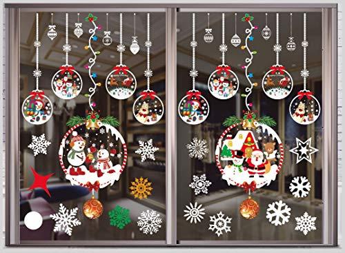 THOWALL Weihnachten Fenstersticker, 2PCS Weihnachtsmann Weihnachten Rentier Aufkleber & Schneeflocken Aufkleber Fensterbilder Abnehmbare Fensterdeko Statisch Haftende PVC Aufkleber Winter Dekoration