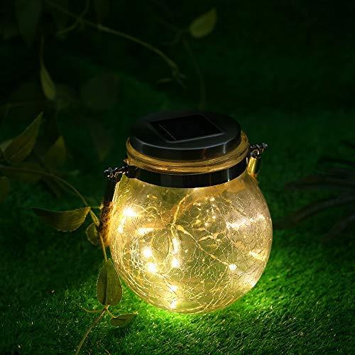 Lixada Outdoor Solar hanglamp crack glazen bol Solar hanglamp lamp lichtketting landschap patio tuinglas zonnelamp 1st